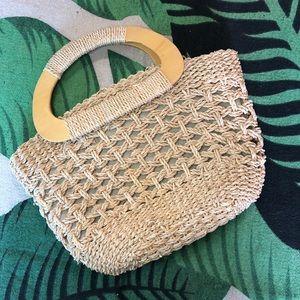 Handbags - Straw Handbag with Wooden Handles